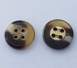 Beige Bruine & Gouden Knoop 15mm