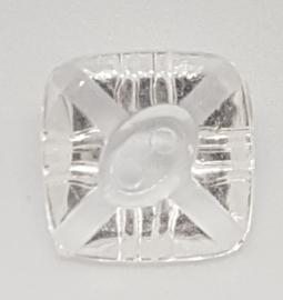 6 Doorzichtige Vierkante Knopen 2 gaatjes 16mm