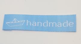 Blauwe Stoffen Handmade Labels Boot 6x1,5 cm (5 Stuks)