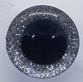 Zilver Kleurige Sparkle Glitter Veiligheids Oogjes Ogen 16mm II