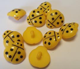 Lieveheersbeestje knoop Donker Geel 16mm (10 stuks)