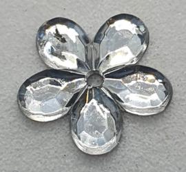 Zilverkleurige Bloemen Pailletten 12mm