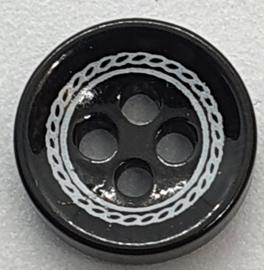 Zwarte knoop met Motief 11mm