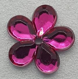 Donker Roze Bloemen Pailletten 10mm