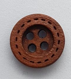 Donker Bruine Houten Knoopjes 12mm