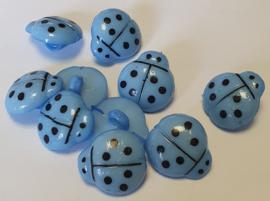 Lieveheersbeestje knoop Blauw 16mm (10 stuks)
