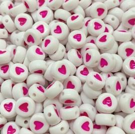 100 Ronde Platte Kralen met Roze Hartje 7mm