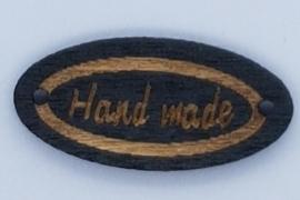Houten Ovalen Zwarte Handmade Buttons 27mm Donkere Tekst
