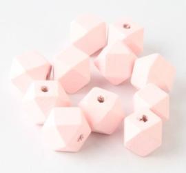 Houten Licht Roze Hexagon kraal 12 mm (5 stuks)