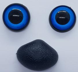 Blauwe Fantasie Veiligheids Ogen 16mm en Neus 27mm