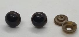 Veiligheidsogen Donker Bruin 14mm (2 stuks)