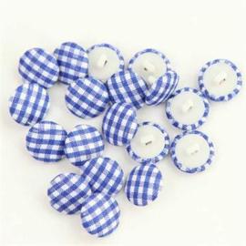 Blauw Geruite Knopen 15mm