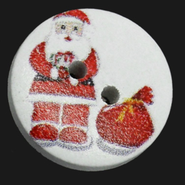 Ronde Houten Kerstman Knopen 15mm (D2)