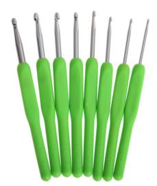 8 stuks Groene Haaknaalden