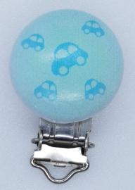 Houten Speenclip met Auto Mint