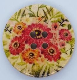 Knopen met Rode Bloemen 30mm