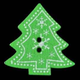 Groene Houten Kerstboom Knopen 3cm