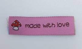 Roze Label Made with Love & Paddestoel 5,5x2cm (5 stuks)