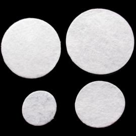 100 Witte Vilten Rondjes 15mm