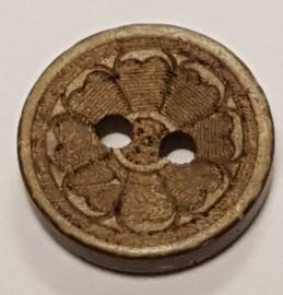 Kokosnoot Knopen met bloem 15mm