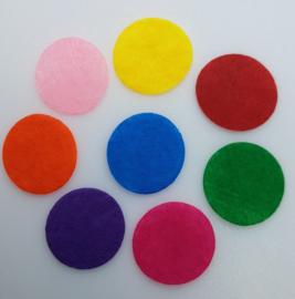 Mix van 100 Gekleurde Vilten Rondjes 30mm