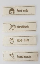 Beige Hand made Labels  5 x 1,5 cm (4 stuks)