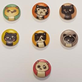 Knopen met Katten of Poezen hoofd 15mm