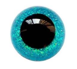Aqua Blauwe Sparkle Glitter Veiligheids Oogjes Ogen 15mm