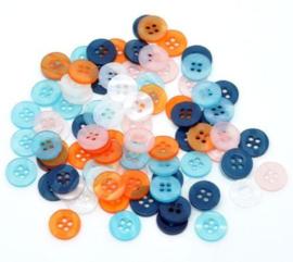 Knoopjes in een mix van 5 verschillende kleuren 11mm  (30 stuks)