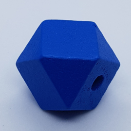 Houten Donker Blauwe Hexagon Kraal 20 mm (per stuk)