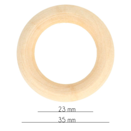 Houten Ringen Naturel 34mm