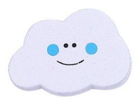 Wolken Kraal Wit  Met Blauw Gezichtje 17x22mm