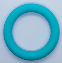 Siliconen Bijtring Rond 65mm met 2 gaatjes - Blauw Groen