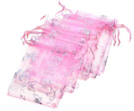 9x12 cm Roze Organza Zakje met Zilveren Vlinders