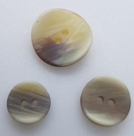 Beige Witte Knoop 15 &18 mm