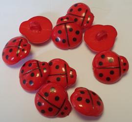 Lieveheersbeestje knoop Rood 16mm (10 stuks)