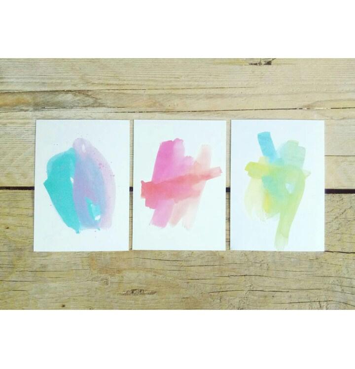 Handletterkaarten watercolor set