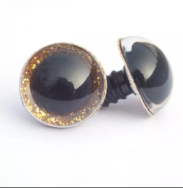 Glitter ogen 20 mm goud kleurig per paar