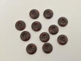Houten knopen 20 mm donker bruin per 5 stuks