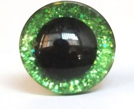 Sparkling eyes,glitter veiligheidsogen  16 mm groen per paar