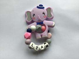 Siliconen bijtring olifant met naam