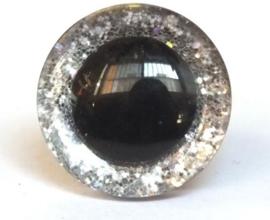 Glitter veiligheidsoogjes zilver 16 mm per paar