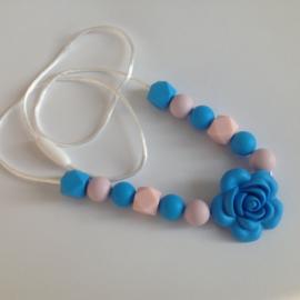 Kinderketting, Voedings-bijtketting roos,blauw roze