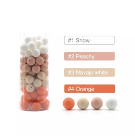 Siliconen kralen 12 mm 15 assortie kleuren per 4 stuks