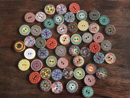 Mooie houten knopen 15 mm per 6 stuks