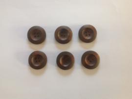 Bruine houten  knopen 25 mm per 5 stuks