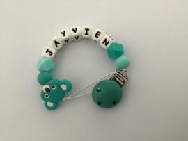 Speenkoord met naam en siliconen koalabeertje Turquoise