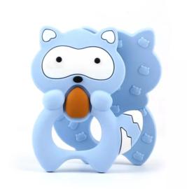 Siliconen bijtring wasbeer blauw