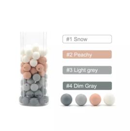 Siliconen kralen 15 mm 15 assortie kleuren per 4 stuks