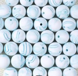 Siliconen kraal 15 mm blauw gemêleerd
